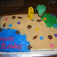 A Day At The Beach   I am an orage flavored cake with buttercream icing. Details are homemade fondant and chocolate.