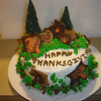 My First Thanksgiving Cake This is my first Thanksgiving cake I made to take to my daughters in-laws house. The chocolate leaves represensent the leaves falling off...