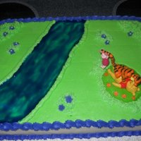 Winney The Pooh Pooh with Tigger & Piglet playing by the river. BC icing with jell for the river.