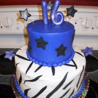 Sweet 16 Sweet 16 cake, zebra stipes with stars. BC icing with fondant accents. Thanks for looking!