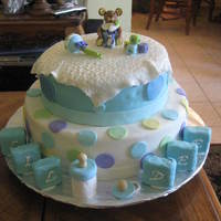 Baby Shower Cake dominican cake with guava filling. all decorations were made of gum paste. cake is covered in fondant.