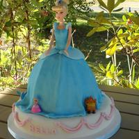 Cinderella Fun cake. Made for my brothers niece. MMF Fondant, brushed with blue Pearl Dust to capture the magic of the Cinderella story. Doll, bird,...