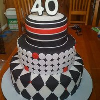 Modern 40Th Birthday Black And White