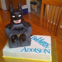 Lego Batman Cake Batman was RKT covered in fondant. Buttercream icing, lettering done with Cricut Cake