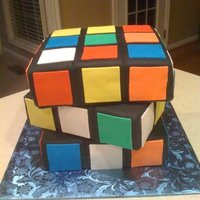 Rubik's Cube Cake 9 x 9 layers stacked. All fondant decorations. Inspiration from several other cakecental.com cakes