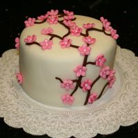 Cherry Blossoms I was teaching some friends how to do fondant cakes and I thought I would try a cherry blossom cake. This is cake number 5, it's...