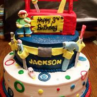Handy Manny Handy Manny and tools are hand molded from gum paste. Tool box is rice krispies covered with fondant.