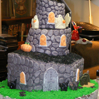 Really Haunted Cake! I wanted to make my first mmf topsy turvy Halloween birthday cake for my mom. I had to travel 300 miles with it. It started as a four tier...