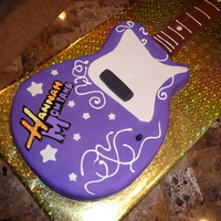 Hannah Montana Guitar Buttercream and fondant, I made the guitar from cake and the handle from rice krispie treat.