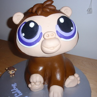 My Littlest Pet Shop THe body is made of cake the head is rice krispy.
