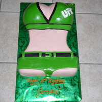 Ufc Ring Girl Body of ring girl carved from small sheet cake. Breasts made from the ball pan by Wilton. BC covered in MMF.
