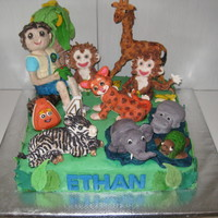 Go Diego Jungle Cake   Go Diego Fondant cake.Diego and all animals are made from fondant.