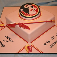 Florida State   10x10 yellow cake covered with fondant.