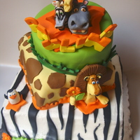 Madagascar Turvy cake with the characters from the movie