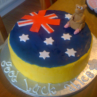 Australia this cake was made for a friend emigrating to australia. in case your wondering, the kangaroo has ballet slippers on as she is a dancer......
