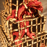 Dragon Breaking Out Of His Bamboo Cage This chinese style dragon is breaking froo from his bamboo cage. The top layer of the cake has been 'pushed' crooked and all the...