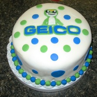 "Geico Cake I made this for my husband to take to work. It's yellow cake with banana filling & a special BC Icing that I ""doctored up&..."