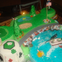 Lake Grapevine And Golf Course For my husband's birthday I made a lake with our boat and a dinosaur (husband) captain, snakes, turtles, ducks etc.. Included the...