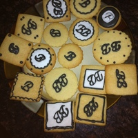 Monogrammed Cookies Monogrammed lemon vanilla cookie samples for 60th birthday party. Chose one round and one square cookie to package in cellophane with thin...