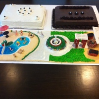 Pool/courtyard Cake  Theme Cake - Moving Party for several residents of very fun apartment complex. I made the pool and courtyard area where many parties have...
