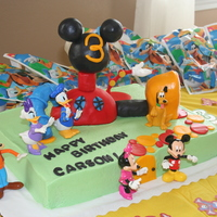 Mickey Mouse Clubhouse Cake I did this cake for my son's third birthday. The cake is covered in buttercream and the clubhouse is rice krispie treats covered in...