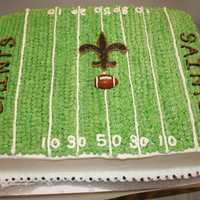 Saints Birthday Cake I did this cake for my nephew who was having a Saints theme birthday party. It is 11 x15 devil's food with chocolate barvarian cream...