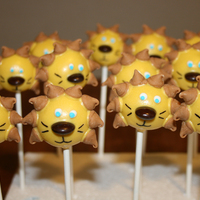"Lion Cake Pops These were done for my son's last soccer game. His team was the ""Lions."" :-) They are vanilla cake pops dipped in yellow..."