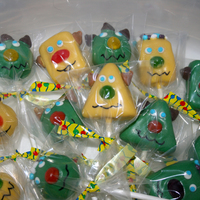 "Monster Cake Pops I made these for the last game of the season for my son's soccer team called the ""Monsters."" They are vanilla cake dipped in..."