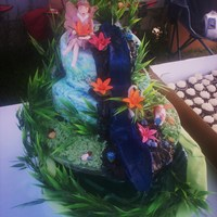 Fairies Tending To The Waterfall Look close you can see water coming down the waterfall as the two fairies add flowers. Fondant Cake with sugar fairies and flowers, candy...