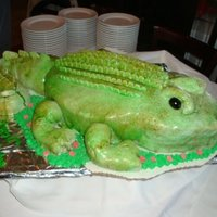 Alligator Cake Carved yellow cake covered in fondant & airbrushed