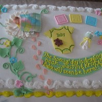 Baby Shower Hi there,This cake is covered with buttercream icing and borders. All the accents were either hand sculpted, made with a mold or cut with a...
