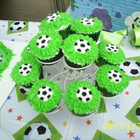 Soccer Cupcakes I made these soccer cupcakes to go with the soccer field cake I made for my son's 7th Birthday. Also another great idea I found here...