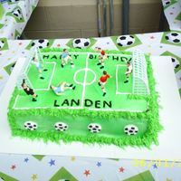 Soccer Field This was my first largest cake that I have ever made. I made it for my son's 7th Birthday. It's half chocolate and half white...