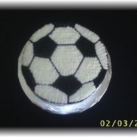 Soccer Ball Cake`  This is a chocolate cake with BC icing. I did a piping gel transfer from an image I got off the internet. It just happened to be the size...
