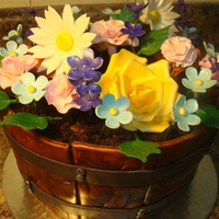 "Barrel & Flowers This was a very fun and entertaining cake to make.. red velvet cake with cream cheese filling.. ""wood"" is fondant painted brown..."