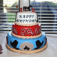 Cowboy Birthday Cake I made this cake for an 80th birthday party. Cowboy theme.