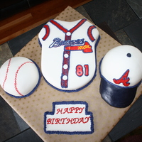 Atlanta Braves Jersey And Baseball Cap I made this cake for my grandma's 81st birthday. She is a huge Brave's fan!