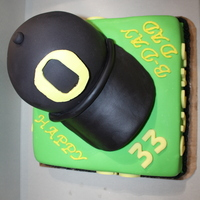 Oregon Ducks Birthday Cake My first attempt at a baseball cap. I was pretty happy with it :)