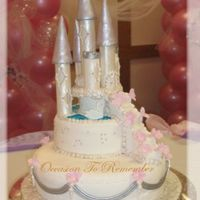 Cenicienta Sweet 16th cake, fondant and pastillage decorations. Stairway made of rice krispies then covered with fondant. I used the patchwork cutters...