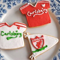 Liverpool Football Cookies I made these for my father-in-law's birthday :)