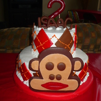 "Isaac""s Sock Monkey Cake Chocolate cake with vanilla buttercream and fondant accents"