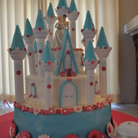"Princess Wedding Cake This is a ""Cinderella's Castle"" wedding cake in hot pink and turquoise made using the Wilton castle set. My first wedding..."