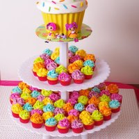 Cupcake Tower I made this giant cupcake and mini cupcake tower to go with the sweet-shoppe themed cake (adapted from the Wilton yearbook cake) for my...