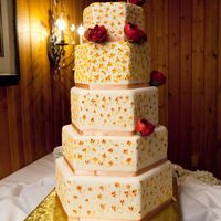 Hexagonal Wedding Cake With Peonies I could not have done this large cake without the help of two friends. There was a whole lot of piping on this cake with royal icing and...