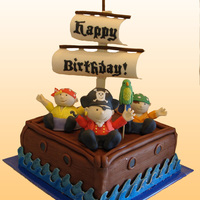 Pirate Ship Birthday Cake I made this chocolate pirate ship cake for our friend's sons' second birthday. The pirates are hand molded out of fondant (with...