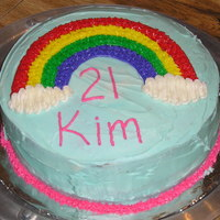 Happy 21St Kim This was my first cake that I made for my Wilton class. It was a birthday cake for my roommate.