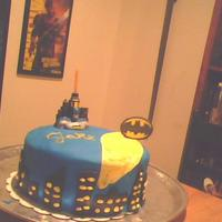Batman Birthday 3rd cake! I can already see an improvement, thanks to all you CCer's. It's a mocha cake with coffee butter frosting, for my...