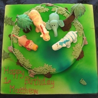 3D Jungle Cake Chocolate sponge covered with sugarpaste. Animals made from sugarpaste and CMC. Trees on top made from cake pops.