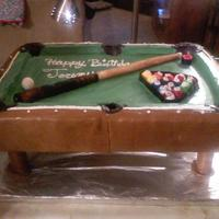 Pool Table Cake This is a 3d Pool Table cake. It was made for my sis in laws bfs birthday. It has a cue sticks, balls racked up and some chalk on it. It is...