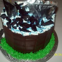 Capri Sun Cooler Barrel Cake This is a devil's food chocolate cake filled with peanut butter frosting, chocolate frosted under chocolate fondant used for the &quot...